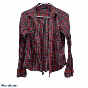 TopShop Red Womans 8 Plaid Button Down Top